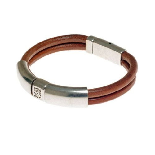 Ciclon Leather Bracelet with Silver tunnel feature in Tan Leather